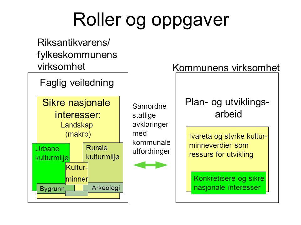 Roller og oppgaver Sikre nasjonale interesser: Landskap (makro) Plan- og utviklings- arbeid Ivareta og styrke kultur- minneverdier som ressurs for utv