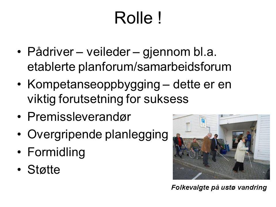 Rolle ! Pådriver – veileder – gjennom bl.a. etablerte planforum/samarbeidsforum Kompetanseoppbygging – dette er en viktig forutsetning for suksess Pre