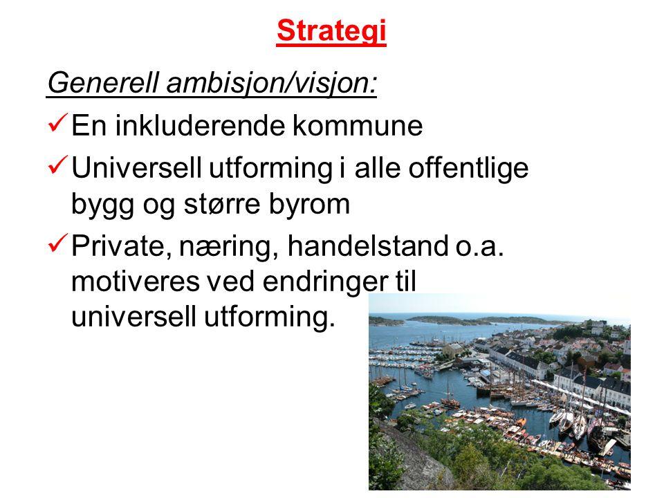 Strategi Generell ambisjon/visjon: En inkluderende kommune Universell utforming i alle offentlige bygg og større byrom Private, næring, handelstand o.