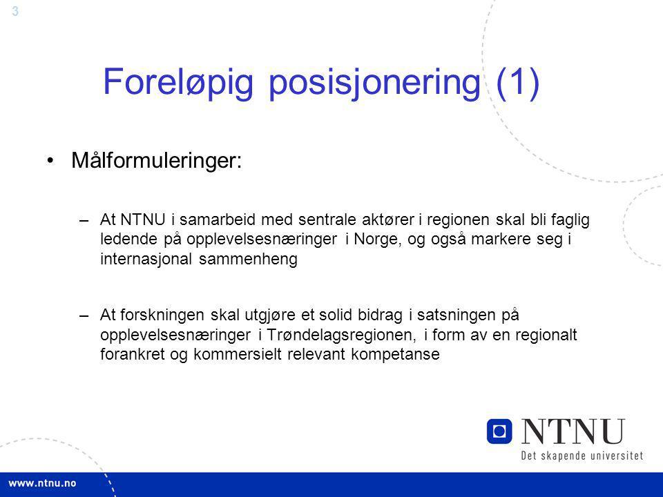 3 Foreløpig posisjonering (1) Målformuleringer: –At NTNU i samarbeid med sentrale aktører i regionen skal bli faglig ledende på opplevelsesnæringer i Norge, og også markere seg i internasjonal sammenheng –At forskningen skal utgjøre et solid bidrag i satsningen på opplevelsesnæringer i Trøndelagsregionen, i form av en regionalt forankret og kommersielt relevant kompetanse
