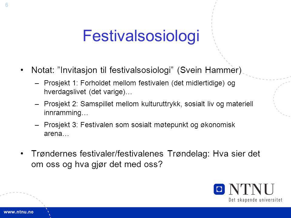 """6 Festivalsosiologi Notat: """"Invitasjon til festivalsosiologi"""" (Svein Hammer) –Prosjekt 1: Forholdet mellom festivalen (det midlertidige) og hverdagsli"""