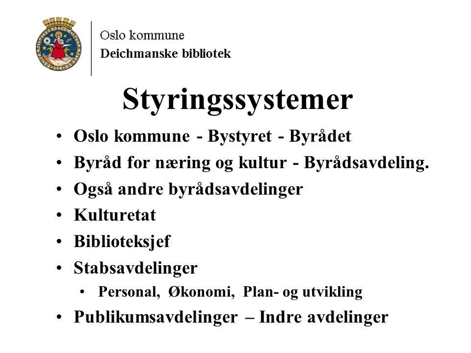 Styringssystemer Oslo kommune - Bystyret - Byrådet Byråd for næring og kultur - Byrådsavdeling.