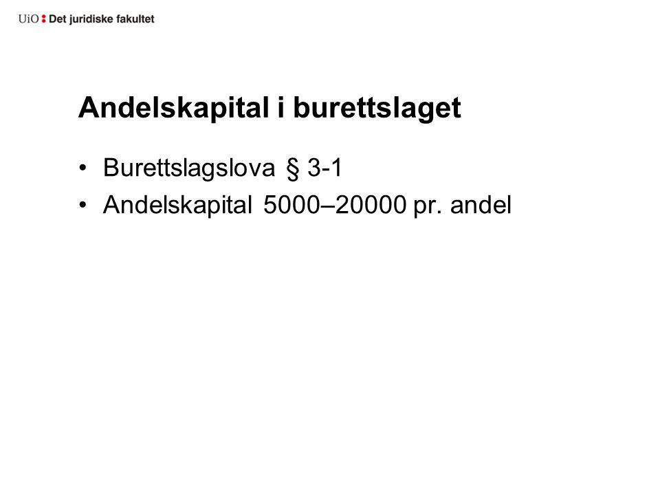 Andelskapital i burettslaget Burettslagslova § 3-1 Andelskapital 5000–20000 pr. andel