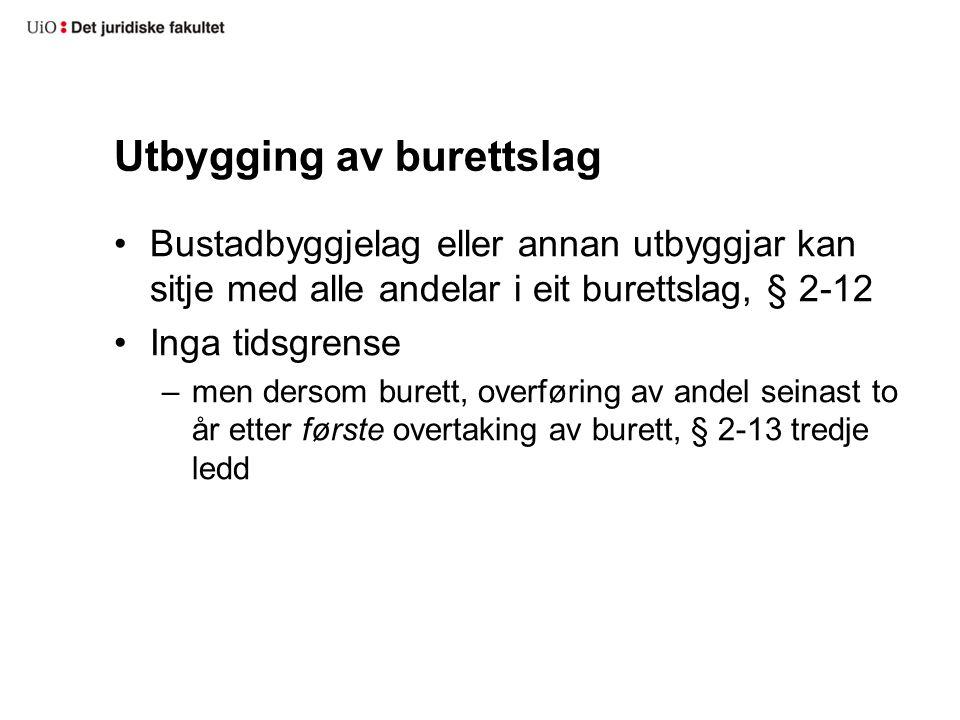 Utbygging (framh.) Avtale med forbrukar om rett til bustad –bustadoppføringslova eller avhendingslova Burett før overtaking av andel –regulert av brl.