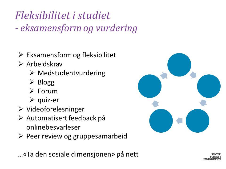Fleksibilitet i studiet - eksamensform og vurdering  Eksamensform og fleksibilitet  Arbeidskrav  Medstudentvurdering  Blogg  Forum  quiz-er  Vi