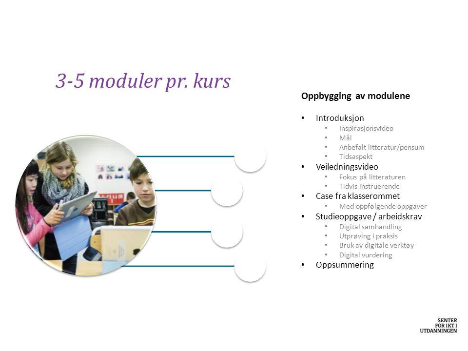 3-5 moduler pr. kurs Oppbygging av modulene Introduksjon Inspirasjonsvideo Mål Anbefalt litteratur/pensum Tidsaspekt Veiledningsvideo Fokus på littera