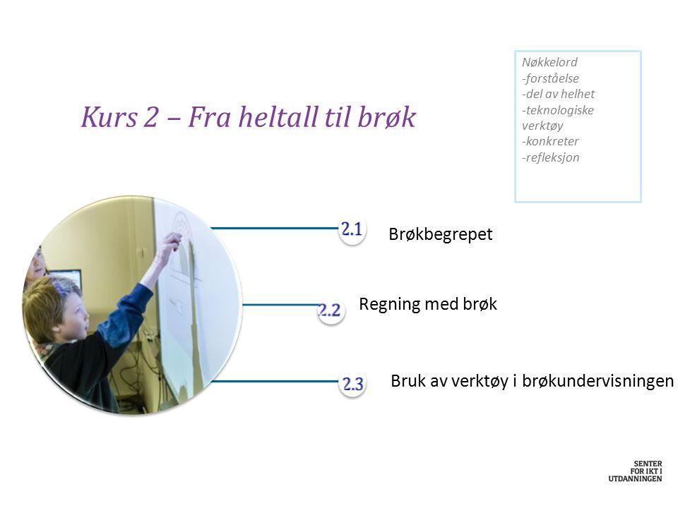 Kurs 2 – Fra heltall til brøk Brøkbegrepet Regning med brøk Bruk av verktøy i brøkundervisningen Nøkkelord -forståelse -del av helhet -teknologiske ve