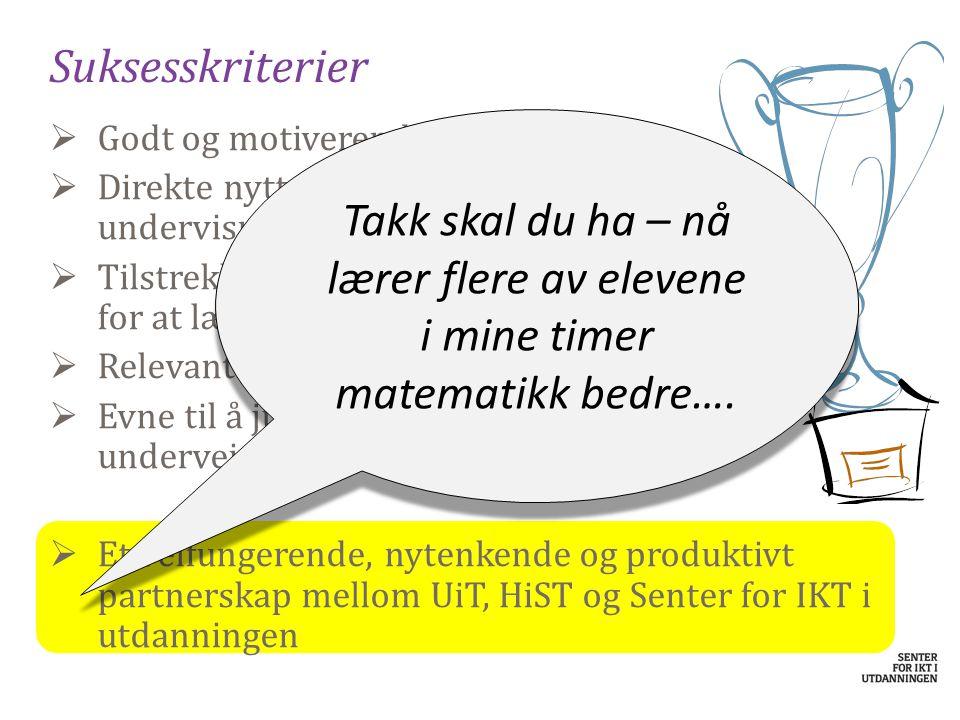 Suksesskriterier  Godt og motiverende faglig innhold  Direkte nytte for læreren i daglig undervisning  Tilstrekkelig insentiver for at lærerne vil