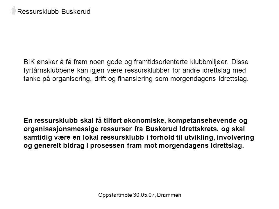 Oppstartmøte 30.05.07, Drammen Ressursklubb Buskerud BIK ønsker å få fram noen gode og framtidsorienterte klubbmiljøer.