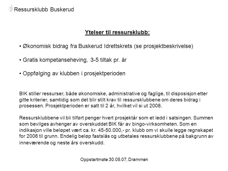 Oppstartmøte 30.05.07, Drammen Ressursklubb Buskerud Ytelser til ressursklubb: Økonomisk bidrag fra Buskerud Idrettskrets (se prosjektbeskrivelse) Gratis kompetanseheving, 3-5 tiltak pr.