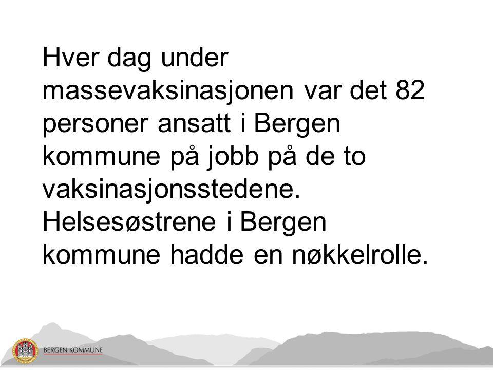 Hver dag under massevaksinasjonen var det 82 personer ansatt i Bergen kommune på jobb på de to vaksinasjonsstedene.
