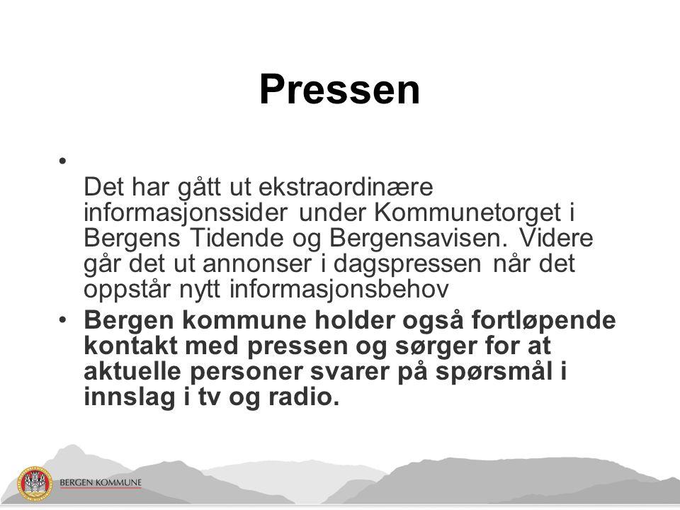 Pressen Det har gått ut ekstraordinære informasjonssider under Kommunetorget i Bergens Tidende og Bergensavisen.