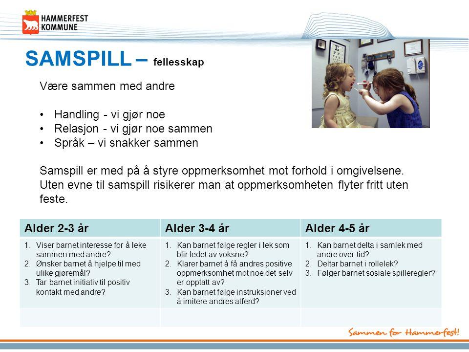 SAMSPILL – fellesskap Alder 2-3 årAlder 3-4 årAlder 4-5 år 1.Viser barnet interesse for å leke sammen med andre? 2.Ønsker barnet å hjelpe til med ulik