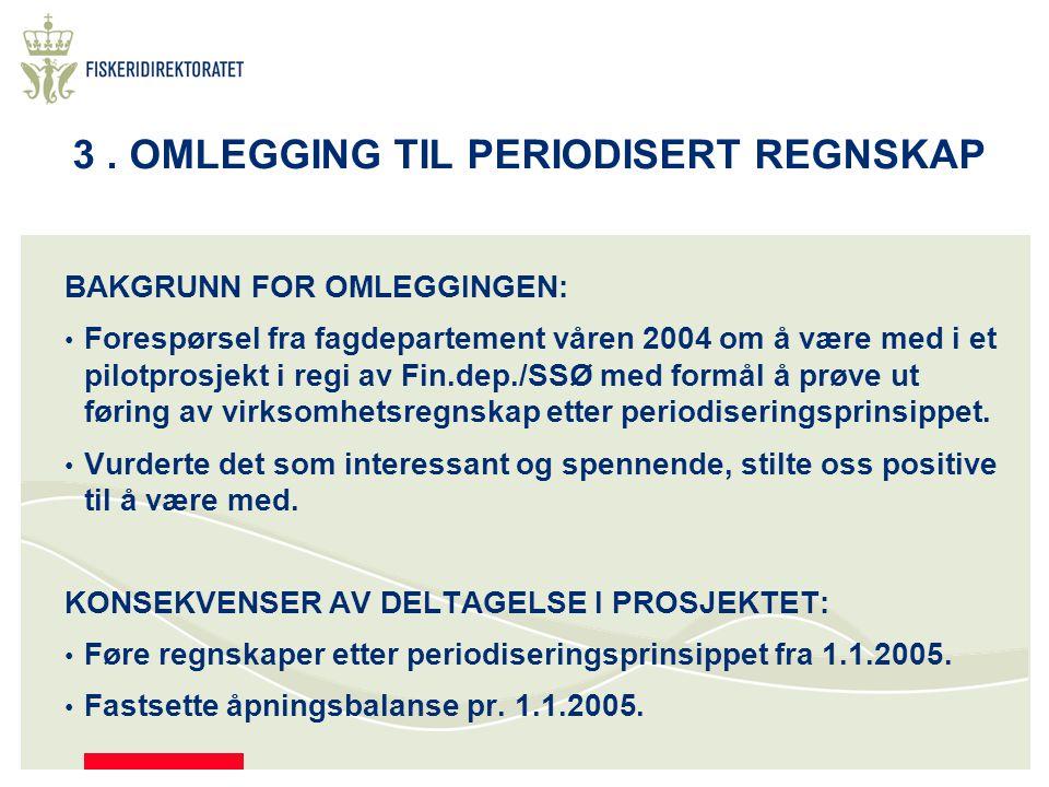 3. OMLEGGING TIL PERIODISERT REGNSKAP BAKGRUNN FOR OMLEGGINGEN: Forespørsel fra fagdepartement våren 2004 om å være med i et pilotprosjekt i regi av F