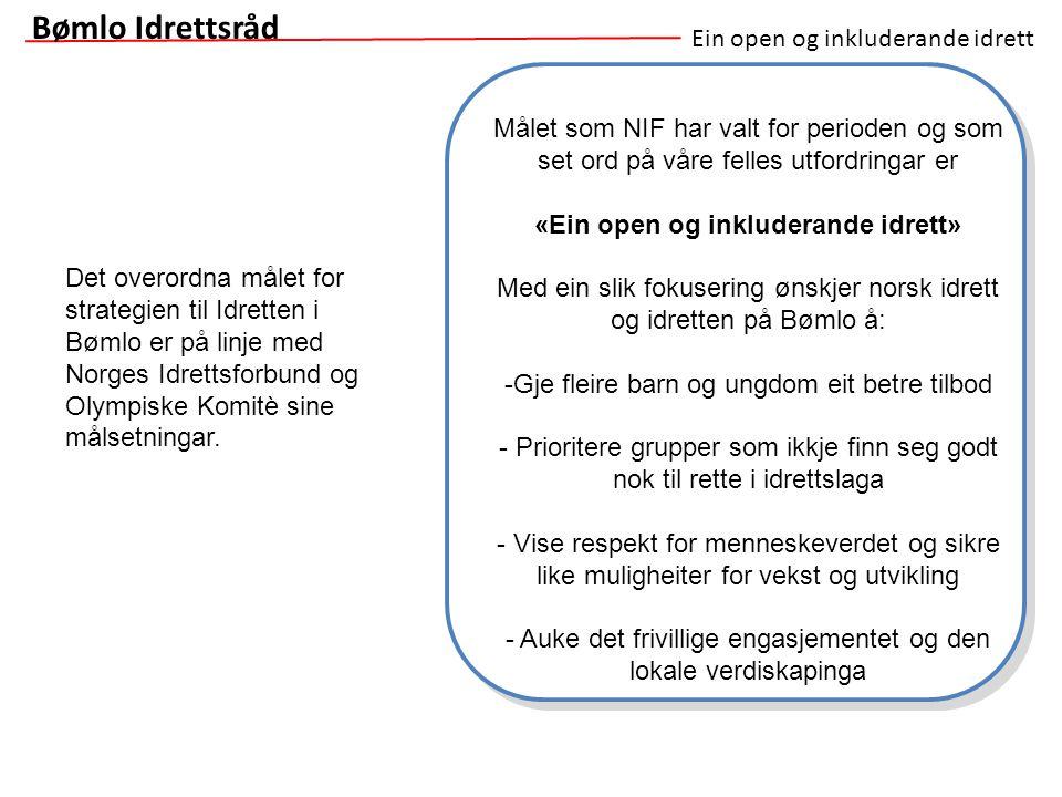 Ein open og inkluderande idrett Bømlo Idrettsråd Målet som NIF har valt for perioden og som set ord på våre felles utfordringar er «Ein open og inklud