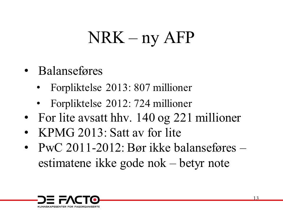 NRK – ny AFP Balanseføres Forpliktelse 2013: 807 millioner Forpliktelse 2012: 724 millioner For lite avsatt hhv. 140 og 221 millioner KPMG 2013: Satt