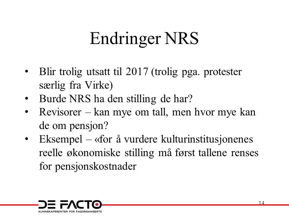 Endringer NRS Blir trolig utsatt til 2017 (trolig pga. protester særlig fra Virke) Burde NRS ha den stilling de har? Revisorer – kan mye om tall, men