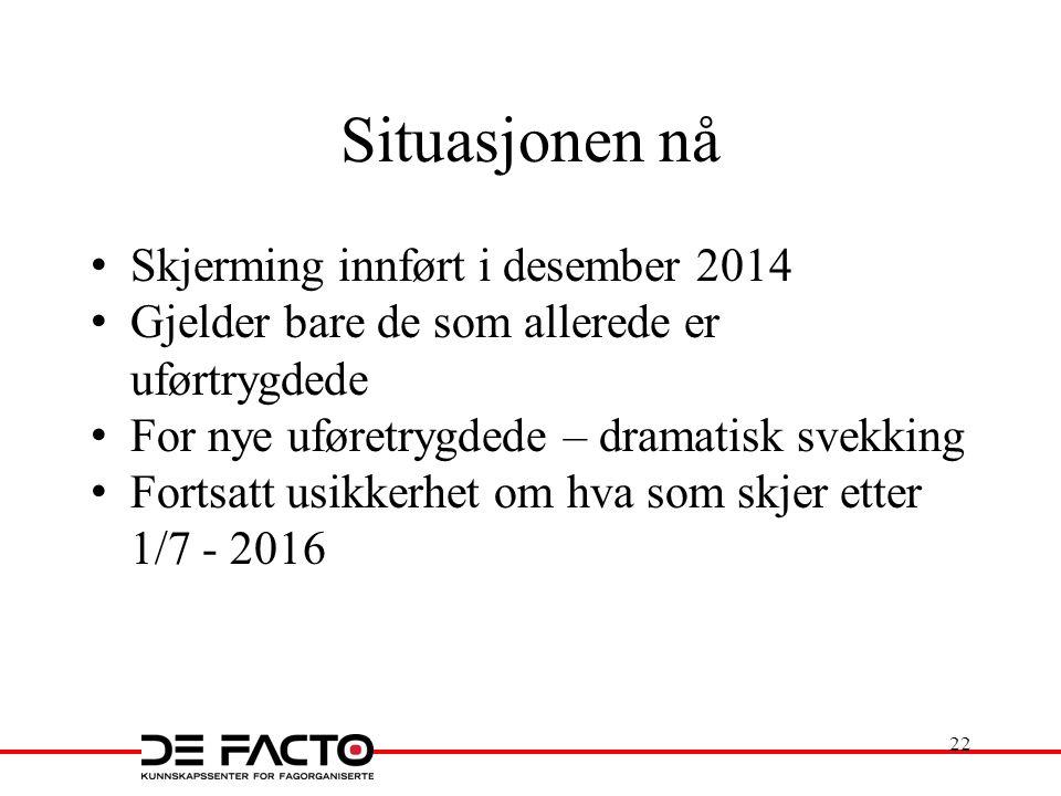 Situasjonen nå Skjerming innført i desember 2014 Gjelder bare de som allerede er uførtrygdede For nye uføretrygdede – dramatisk svekking Fortsatt usikkerhet om hva som skjer etter 1/7 - 2016 22