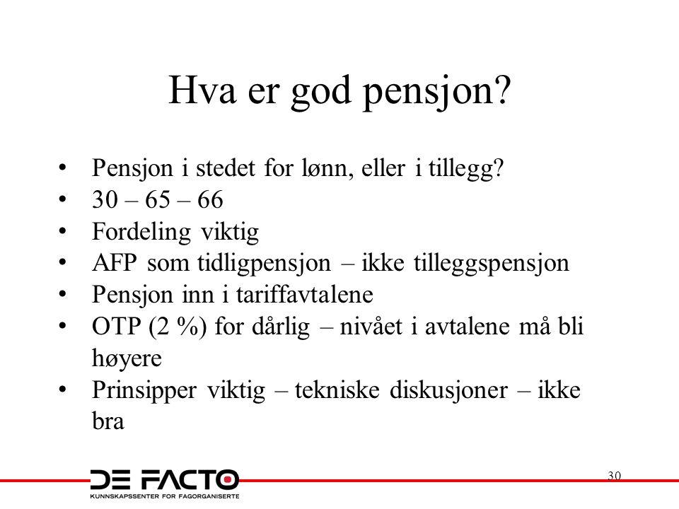 Hva er god pensjon? Pensjon i stedet for lønn, eller i tillegg? 30 – 65 – 66 Fordeling viktig AFP som tidligpensjon – ikke tilleggspensjon Pensjon inn