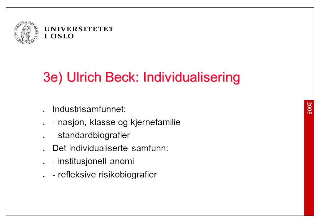 2005 3e) Ulrich Beck: Individualisering Industrisamfunnet: - nasjon, klasse og kjernefamilie - standardbiografier Det individualiserte samfunn: - inst