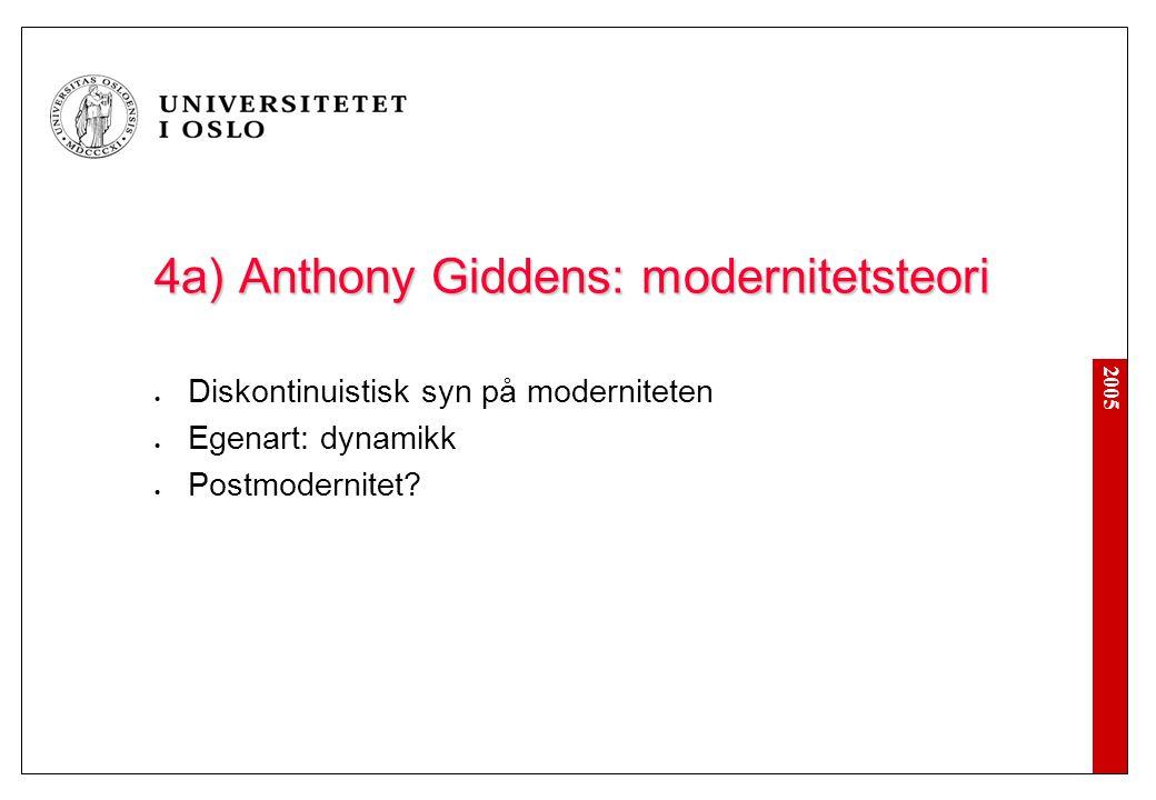 2005 4a) Anthony Giddens: modernitetsteori Diskontinuistisk syn på moderniteten Egenart: dynamikk Postmodernitet?