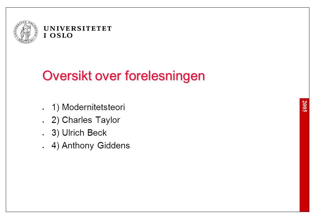 2005 3e) Ulrich Beck: Individualisering Industrisamfunnet: - nasjon, klasse og kjernefamilie - standardbiografier Det individualiserte samfunn: - institusjonell anomi - refleksive risikobiografier