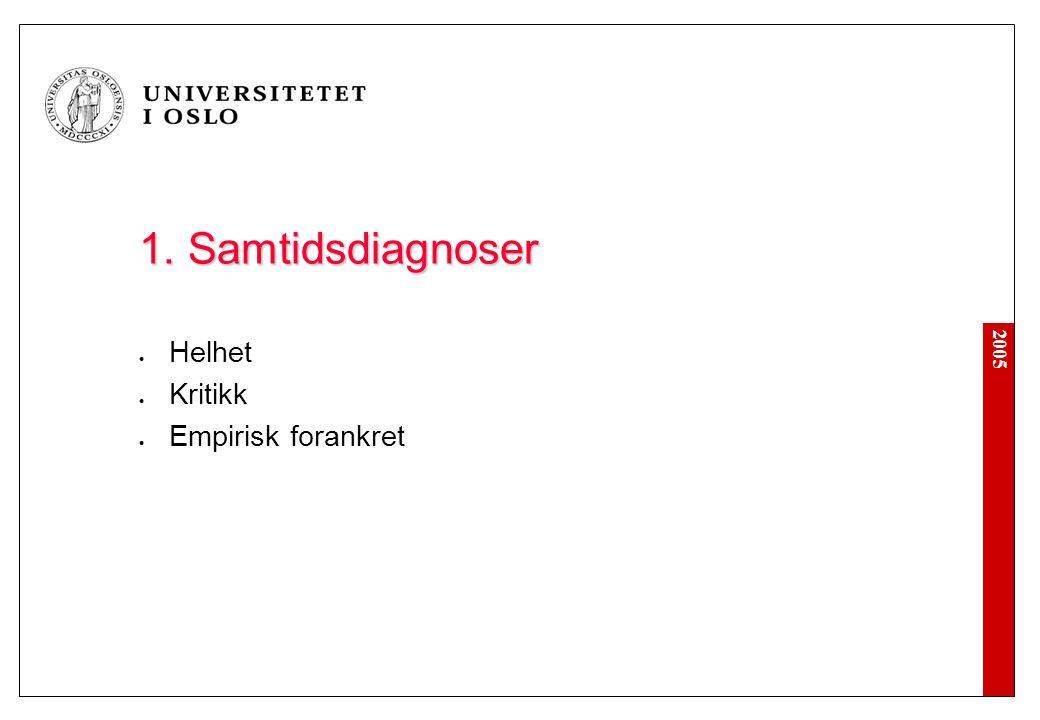 2005 1. Samtidsdiagnoser Helhet Kritikk Empirisk forankret