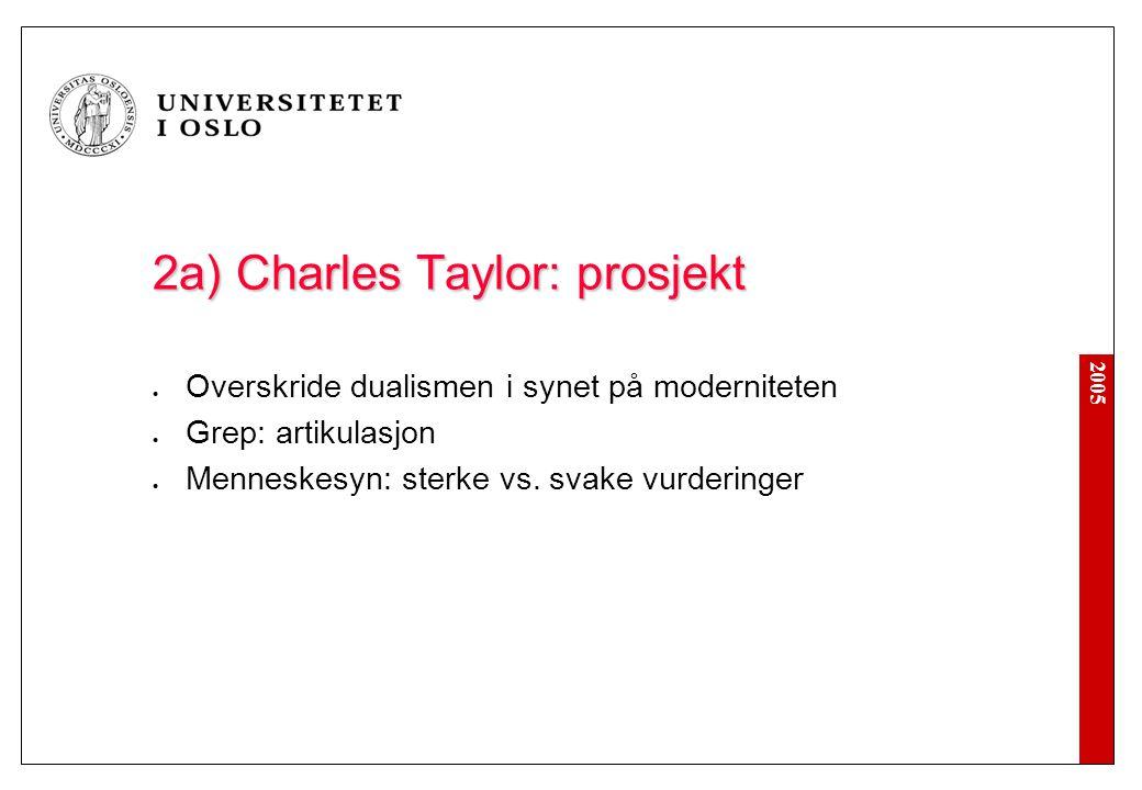 2005 2a) Charles Taylor: prosjekt Overskride dualismen i synet på moderniteten Grep: artikulasjon Menneskesyn: sterke vs. svake vurderinger