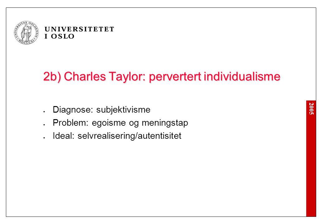 2005 2c) Charles Taylor: instrumentell fornuft Diagnose: marked og byråkrati ekspanderer Problem: systemtvang (rasjonalitetens jernbur) Ideal: autonomi og velferd (hverdagslivets betydning)