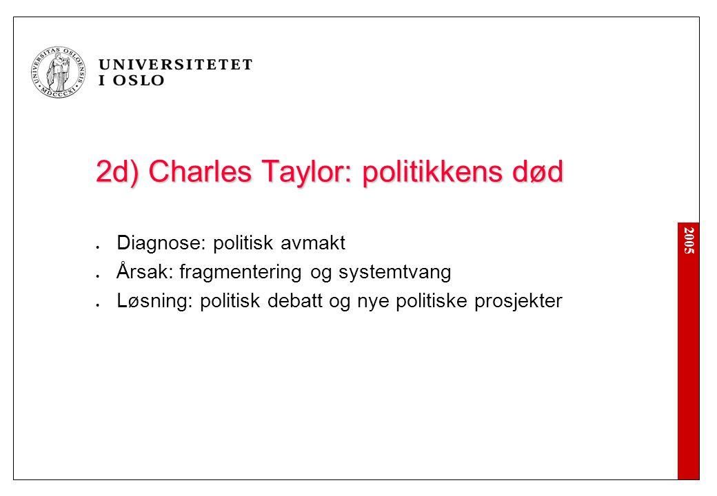 2005 2e) Charles Taylor: kritikk Identitet og sterke vurderinger Essensialisme Kulturalisme Selvrealisering og makt Underspiller kulturell pluralisme Medisin: demokratisk forfatningspatriotisme