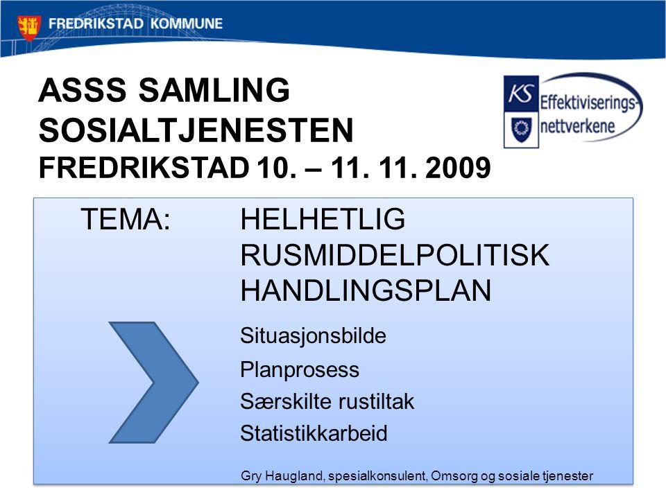 ASSS SAMLING SOSIALTJENESTEN FREDRIKSTAD 10. – 11. 11. 2009 TEMA:HELHETLIG RUSMIDDELPOLITISK HANDLINGSPLAN Situasjonsbilde Planprosess Særskilte rusti