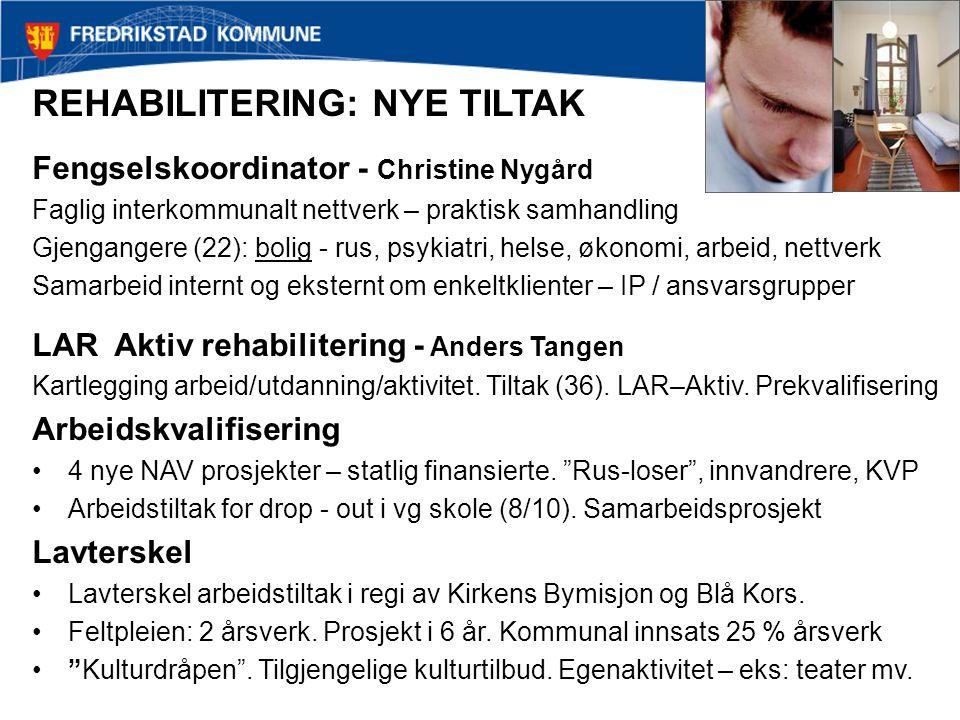 REHABILITERING: NYE TILTAK Fengselskoordinator - Christine Nygård Faglig interkommunalt nettverk – praktisk samhandling Gjengangere (22): bolig - rus,