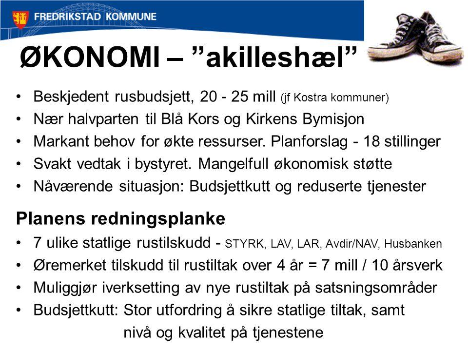 """ØKONOMI – """"akilleshæl"""" Beskjedent rusbudsjett, 20 - 25 mill (jf Kostra kommuner) Nær halvparten til Blå Kors og Kirkens Bymisjon Markant behov for økt"""