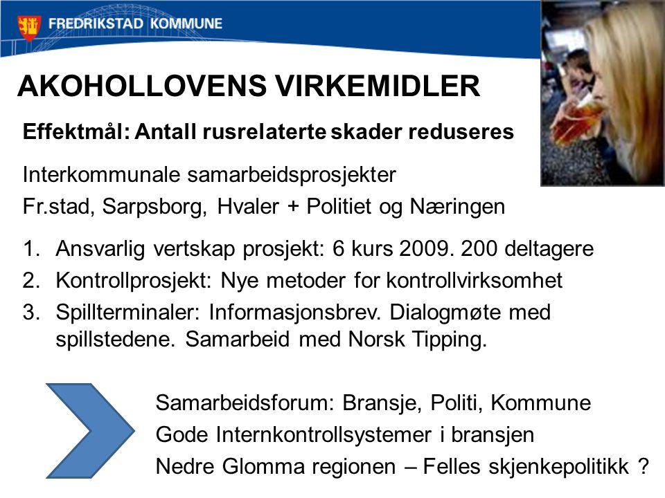 AKOHOLLOVENS VIRKEMIDLER Effektmål: Antall rusrelaterte skader reduseres Interkommunale samarbeidsprosjekter Fr.stad, Sarpsborg, Hvaler + Politiet og