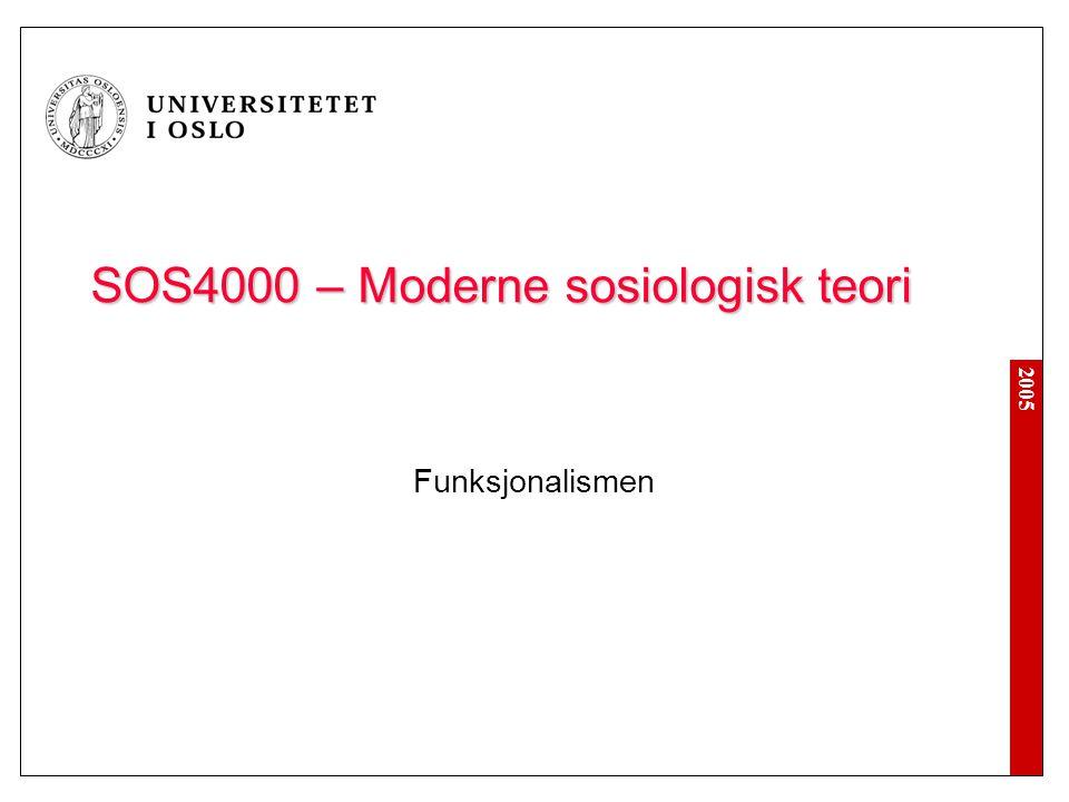 2005 Oversikt over forelesningen 1) Introduksjon til funksjonalismen 2) Talcott Parsons 3) Robert K.