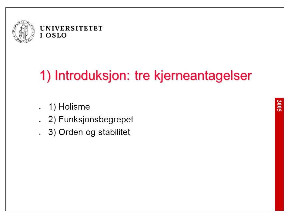 2005 1) Introduksjon: tre kjerneantagelser 1) Holisme 2) Funksjonsbegrepet 3) Orden og stabilitet