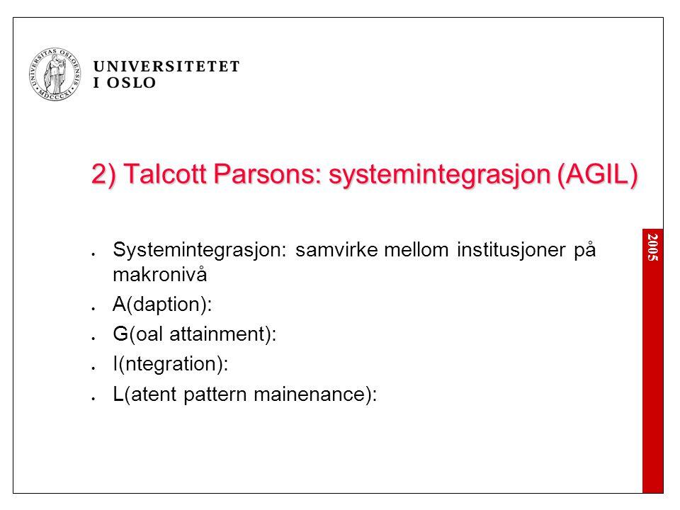 2005 2) Talcott Parsons: systemintegrasjon (AGIL) Systemintegrasjon: samvirke mellom institusjoner på makronivå A(daption): G(oal attainment): I(ntegration): L(atent pattern mainenance):