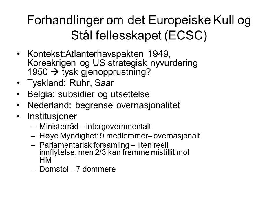 Forhandlinger om det Europeiske Kull og Stål fellesskapet (ECSC) Kontekst:Atlanterhavspakten 1949, Koreakrigen og US strategisk nyvurdering 1950  tysk gjenopprustning.
