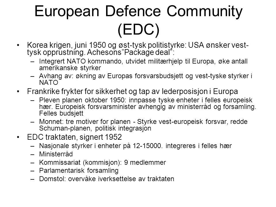 European Defence Community (EDC) Korea krigen, juni 1950 og øst-tysk politistyrke: USA ønsker vest- tysk opprustning.