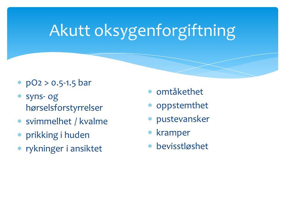 Akutt oksygenforgiftning  pO2 > 0.5-1.5 bar  syns- og hørselsforstyrrelser  svimmelhet / kvalme  prikking i huden  rykninger i ansiktet  omtåket