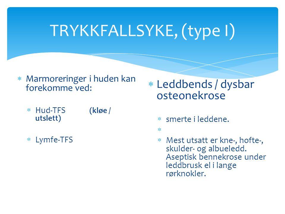 TRYKKFALLSYKE, (type I)  Marmoreringer i huden kan forekomme ved:  Hud-TFS (kløe / utslett)  Lymfe-TFS  Leddbends / dysbar osteonekrose  smerte i