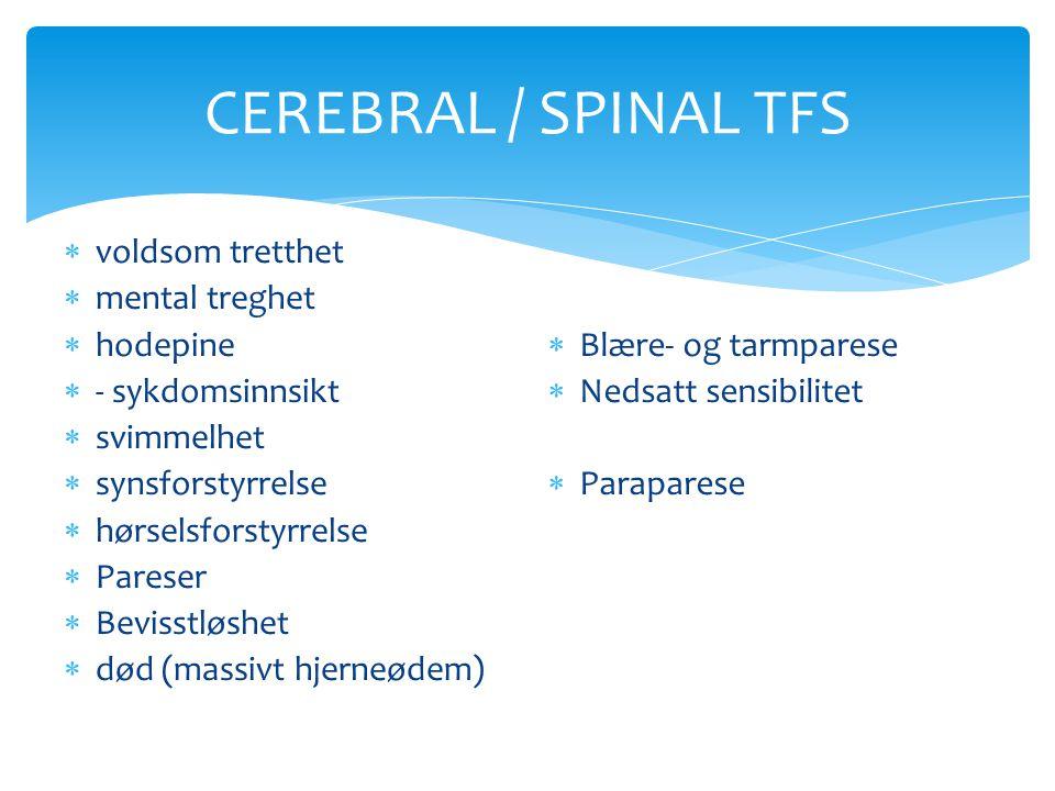 CEREBRAL / SPINAL TFS  voldsom tretthet  mental treghet  hodepine  - sykdomsinnsikt  svimmelhet  synsforstyrrelse  hørselsforstyrrelse  Parese