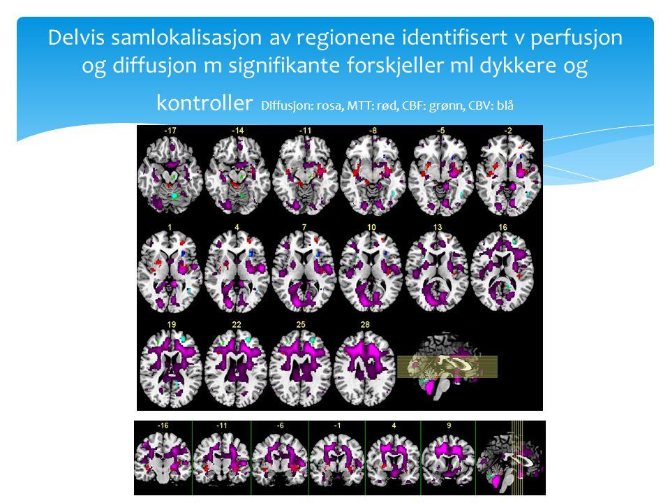 Delvis samlokalisasjon av regionene identifisert v perfusjon og diffusjon m signifikante forskjeller ml dykkere og kontroller Diffusjon: rosa, MTT: rø