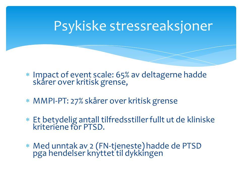 Psykiske stressreaksjoner  Impact of event scale: 65% av deltagerne hadde skårer over kritisk grense,  MMPI-PT: 27% skårer over kritisk grense  Et