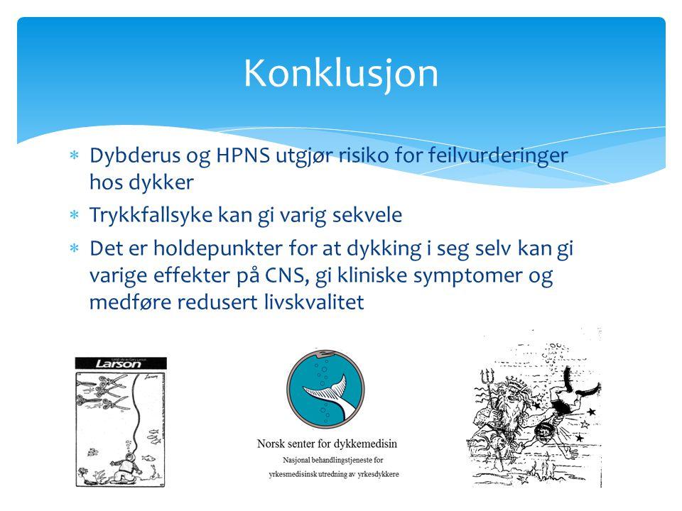  Dybderus og HPNS utgjør risiko for feilvurderinger hos dykker  Trykkfallsyke kan gi varig sekvele  Det er holdepunkter for at dykking i seg selv k