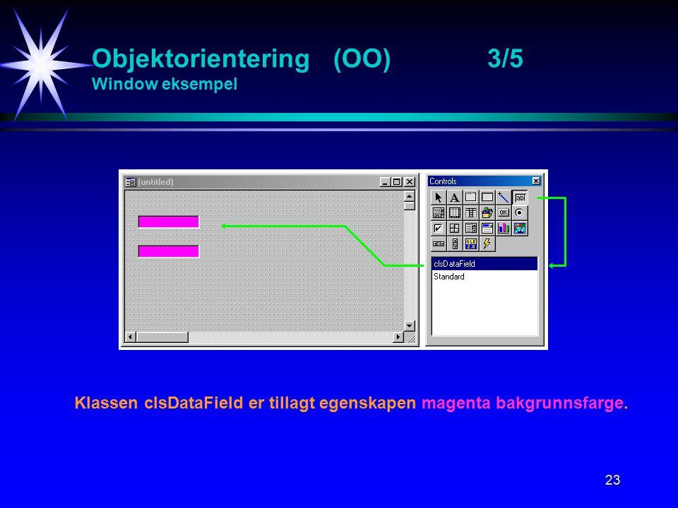 23 Objektorientering (OO)3/5 Window eksempel Klassen clsDataField er tillagt egenskapen magenta bakgrunnsfarge.