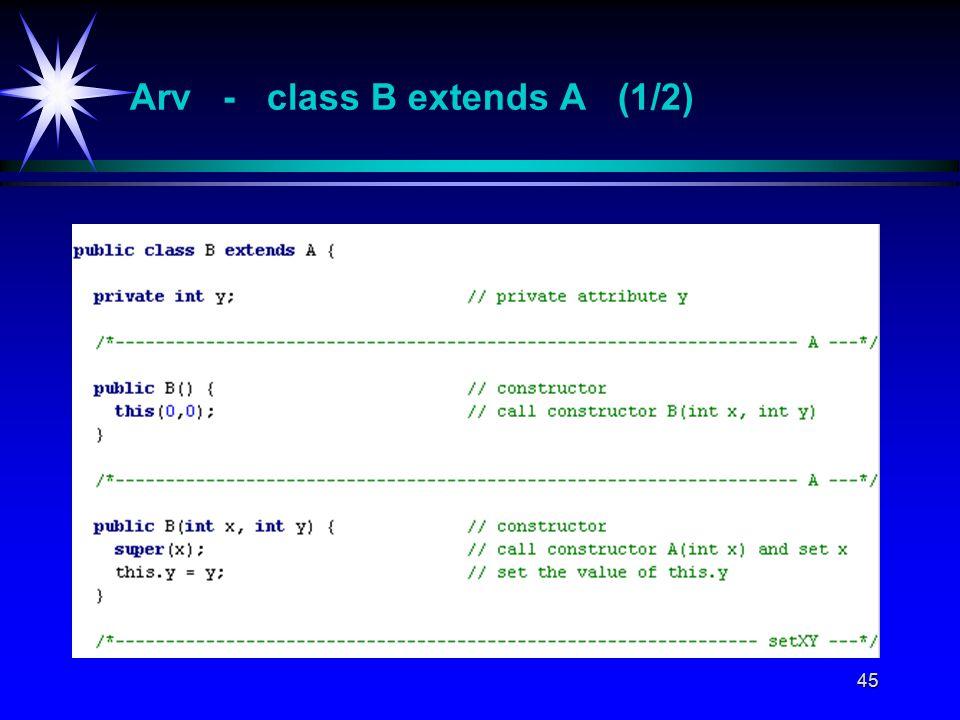 45 Arv - class B extends A (1/2)