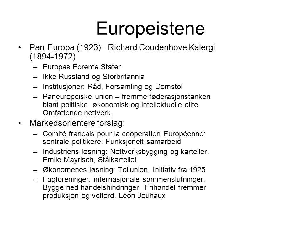 Europeistene Pan-Europa (1923) - Richard Coudenhove Kalergi (1894-1972) –Europas Forente Stater –Ikke Russland og Storbritannia –Institusjoner: Råd, Forsamling og Domstol –Paneuropeiske union – fremme føderasjonstanken blant politiske, økonomisk og intellektuelle elite.