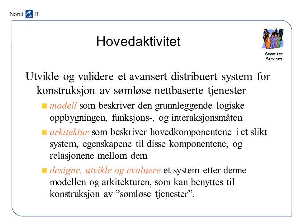 Seamless Services Hovedaktivitet Utvikle og validere et avansert distribuert system for konstruksjon av sømløse nettbaserte tjenester modell som beskr