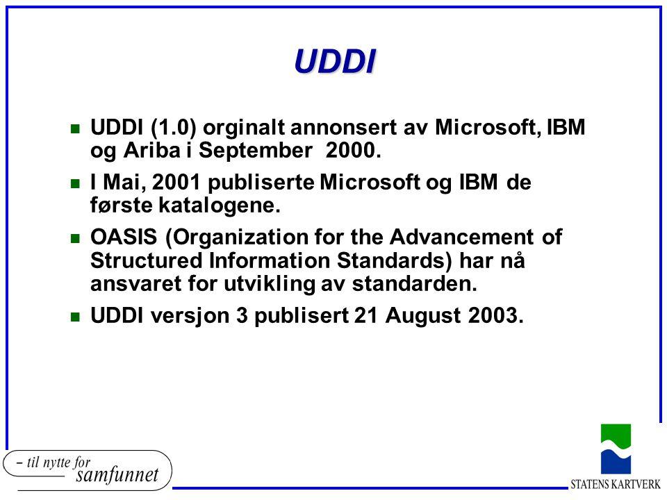 UDDI n UDDI (1.0) orginalt annonsert av Microsoft, IBM og Ariba i September 2000.